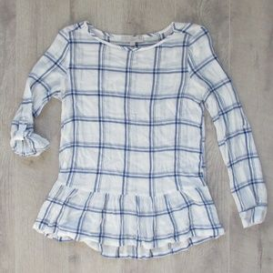 NWOT LOFT White & Blue Plaid Ruffle Hem Top Sz Sm